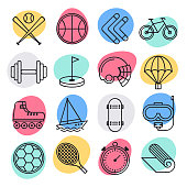 Athletes physical performance doodle style concept outline symbols. Line vector icon sets for infographics and web designs.