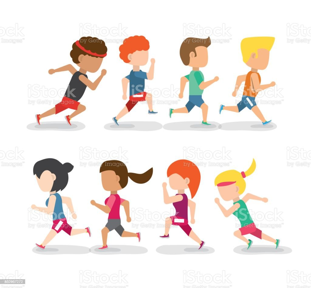 athletes running in competition championship vector art illustration