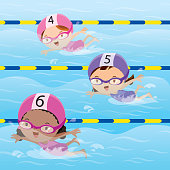 Athletes swimming in the pool