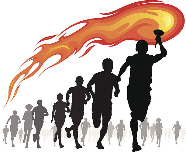 Athletes with flaming torch. vector art illustration