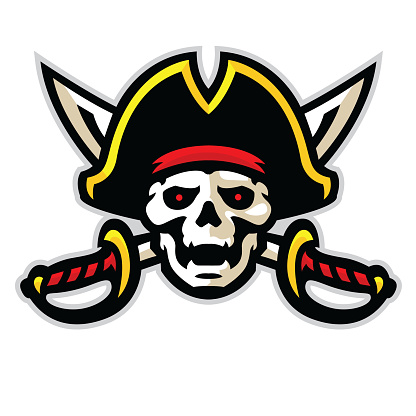 Athletic aggressive Pirate with crossed swords and ready for war.