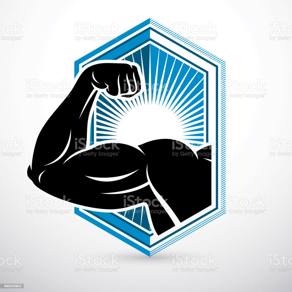 Athletic arm, lifter graphic vector illustration. Fitness workout. vector art illustration