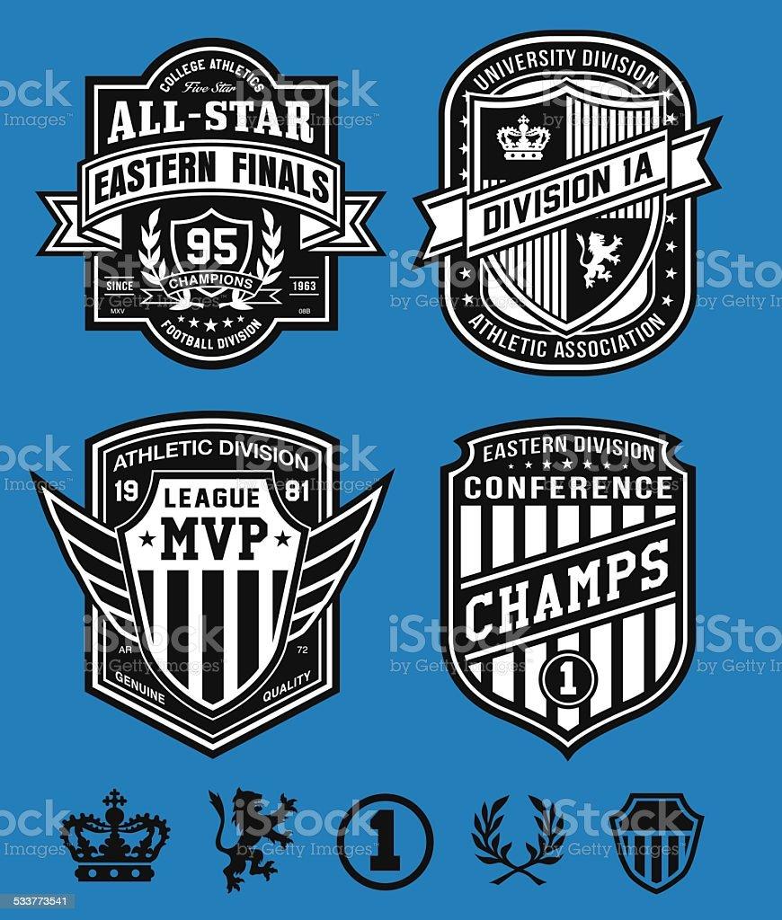 Athletic crest emblems vector art illustration