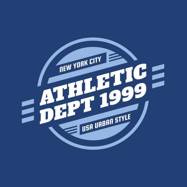 stockillustraties, clipart, cartoons en iconen met athletic department 1999-typografie vintage embleem voor t-shirt. retro artwork badge voor outfit print van twee kleuren. vector illustratie op blauwe achtergrond. usa urban stijl. grafisch ontwerpelement. - 1990 1999