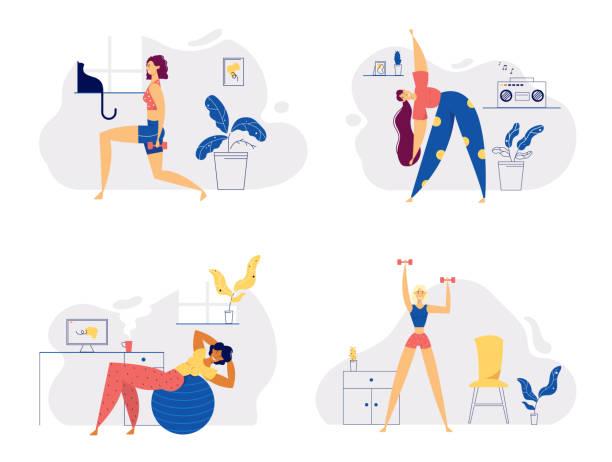 ilustrações de stock, clip art, desenhos animados e ícones de athletic female character exercising fitness at home. sport healthy lifestyle wellness concept with fit woman doing pilates, training. vector flat illustration - só adultos