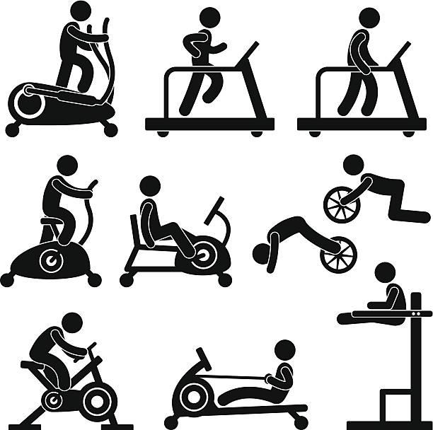 Athletic Gym Gymnasium Übung Training-Fitness-Workout – Vektorgrafik