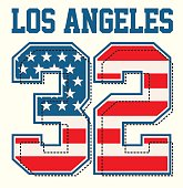 athletic los angeles textured american flags, t shirt graphic Vectors