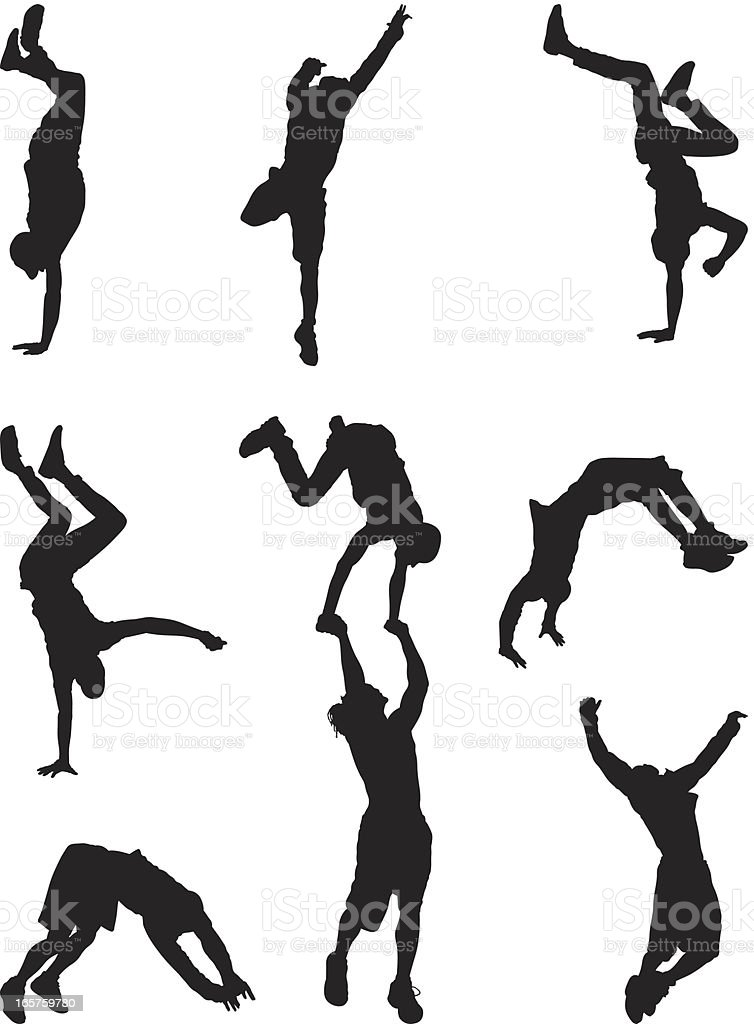 Athletic men break dancing vector art illustration