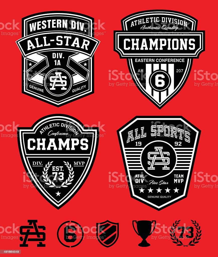 Athletic patch emblems vector art illustration