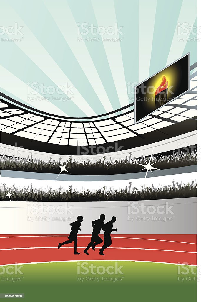 Athletic runners at stadium royalty-free stock vector art
