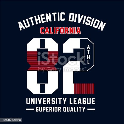 Athletic sport California typography, t-shirt graphics, vectors - Vector
