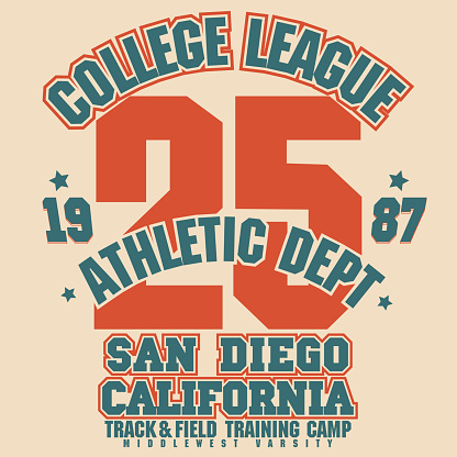 Athletic t-shirt graphic design. California surfers wear stamp. Vector
