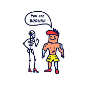A compliment from the athletic zombie to the girl skeleton phrase You are booutiful. Cute Halloween card in doodle style. Vector illustration.