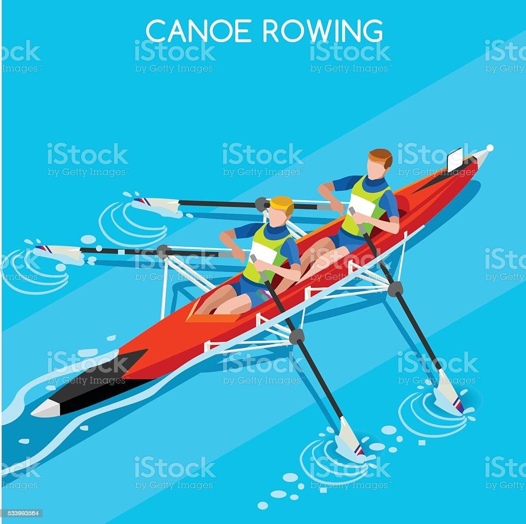 Leichtathletik Kanusprint Rudern Sommerspiele Athleten Sport-Wettbewerb – Vektorgrafik