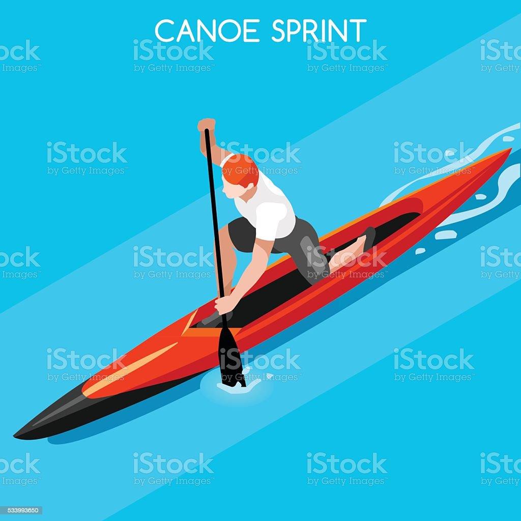 Canoe Sprint 2016 Summer Games Icon Set.3D Isometric Canoeist...