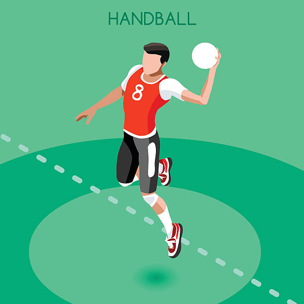 bildbanksillustrationer, clip art samt tecknat material och ikoner med athletics handball summer games athlete sporting championship international competition isometric - handboll