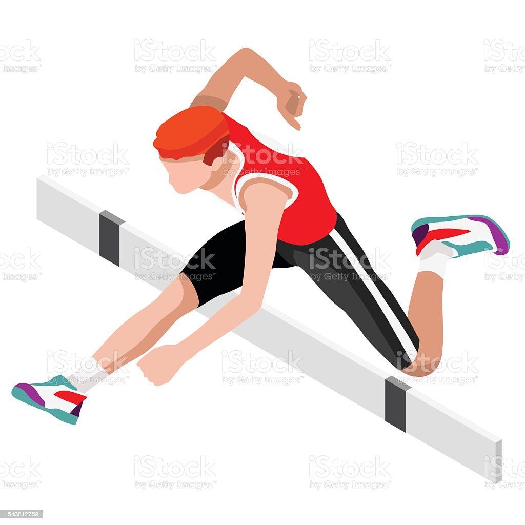 Athletics Hurdle Jump  Sports 3D Vector Illustration vector art illustration