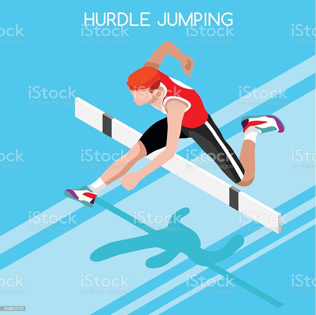 Athletics Hurdle Jump  Summer Games 3D Vector Illustration vector art illustration