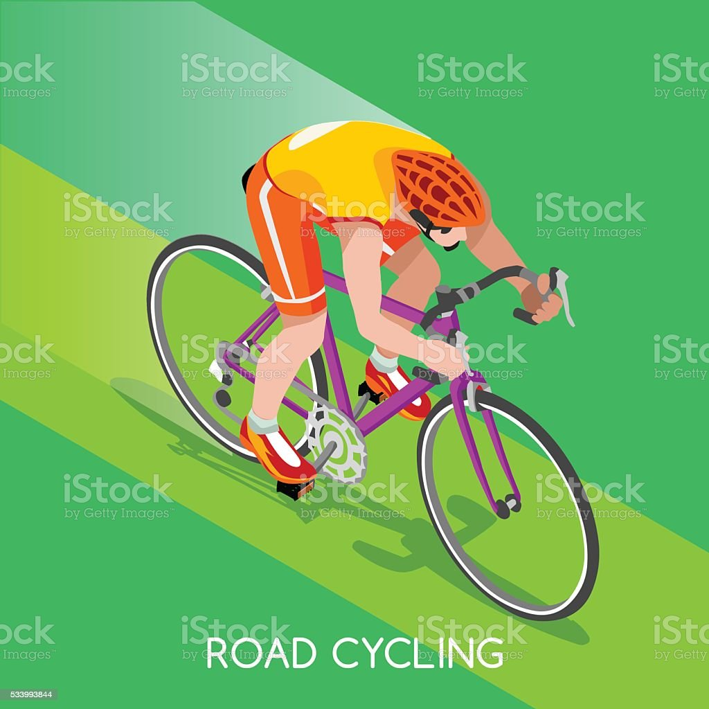 Athletics Road Cyclist Bicyclist Summer Games Athlete Sporting International Competition vector art illustration