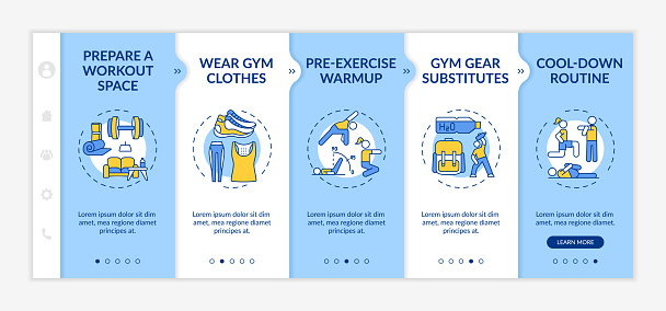 At-home physical training tips onboarding vector template