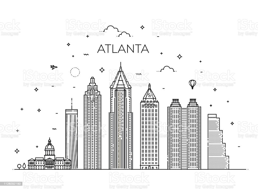 Atlanta architecture line skyline illustration. Linear vector cityscape with famous landmarks vector art illustration