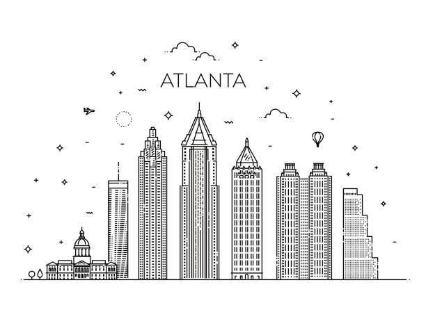 Atlanta Architektur Linie Skyline Abbildung. Linearer Vektor Stadtbild mit berühmten Sehenswürdigkeiten – Vektorgrafik