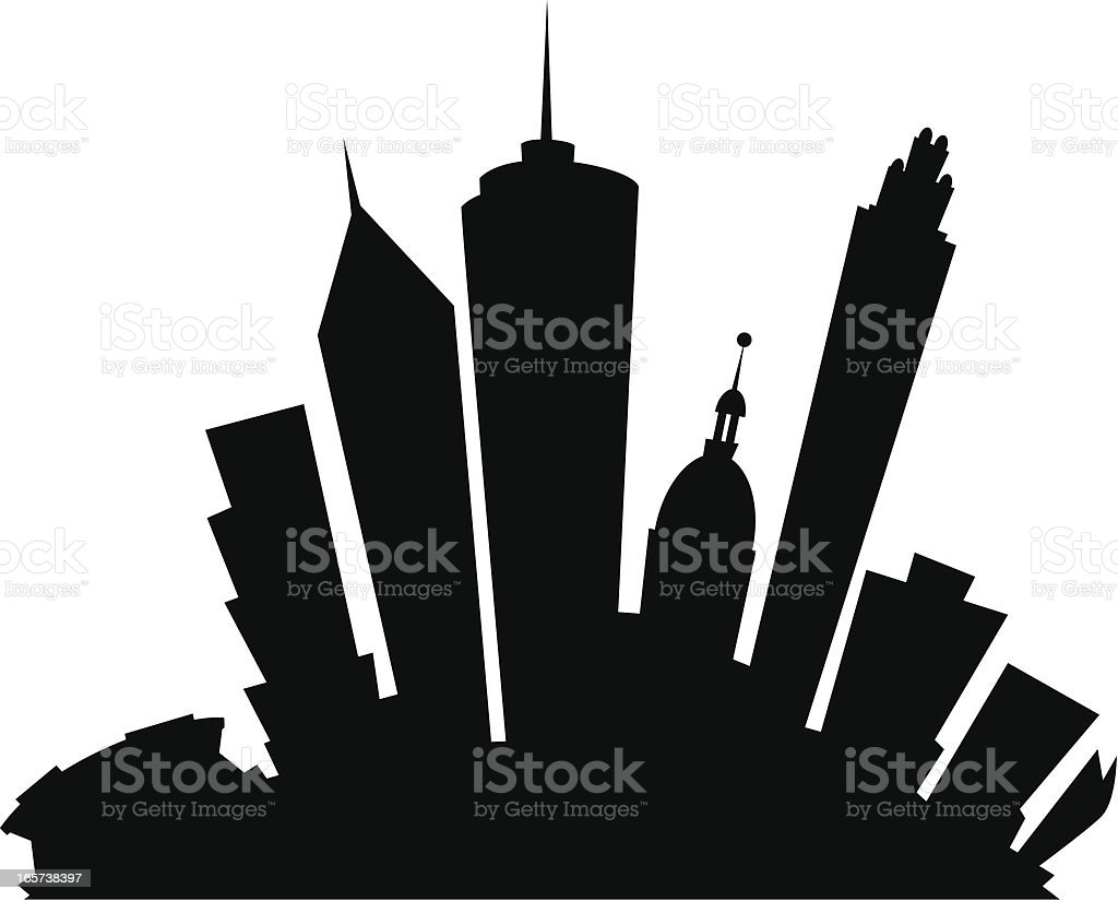 Atlanta Cartoon City vector art illustration