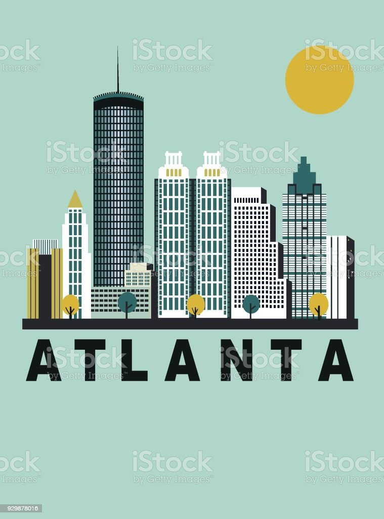 Atlanta city in Georgia USA vector art illustration