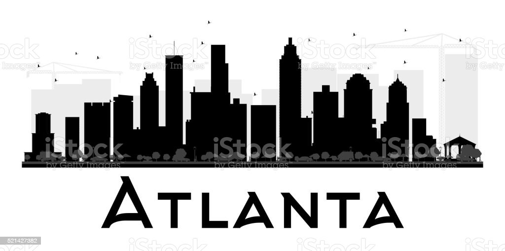 Atlanta City skyline black and white silhouette. vector art illustration