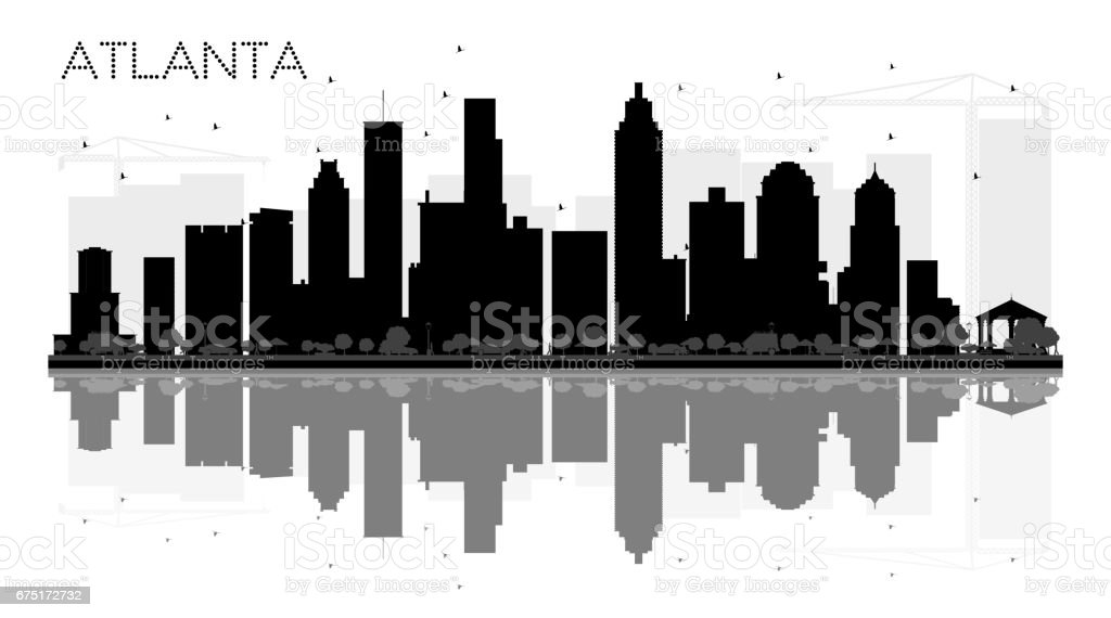 Atlanta City skyline black and white silhouette with reflections. vector art illustration