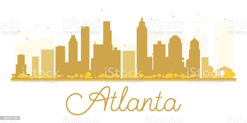 Atlanta City skyline golden silhouette. vector art illustration