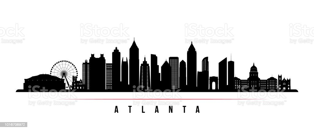 Atlanta city skyline horizontal banner. Black and white silhouette of Atlanta city, USA. Vector template for your design. - Векторная графика Архитектура роялти-фри