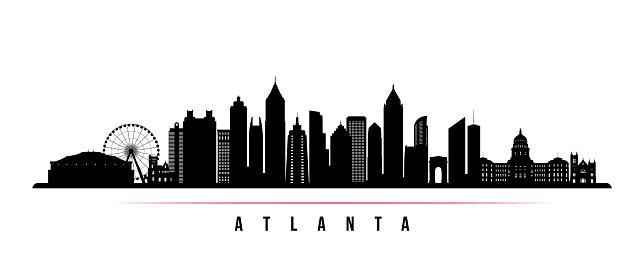 atlanta city skyline horizontale banner schwarz weiß silhouette der stadt  atlanta usa vektorvorlage für ihr design stock vektor art und mehr bilder  von architektur - istock  istock