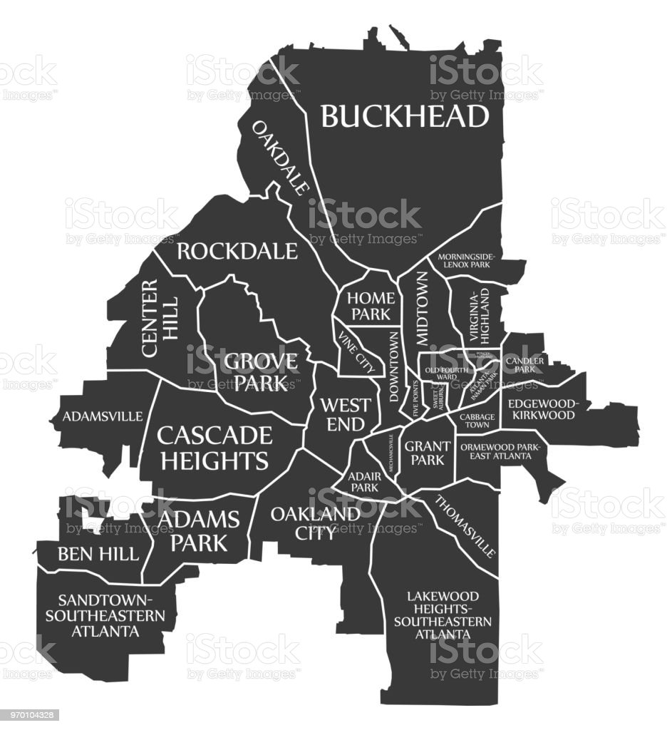 Atlanta On Map Of Usa.Atlanta Georgia City Map Usa Labelled Black Illustration Stock