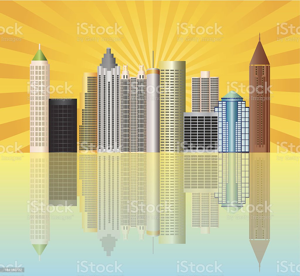 Atlanta Georgia City Skyline Vector Illustration vector art illustration