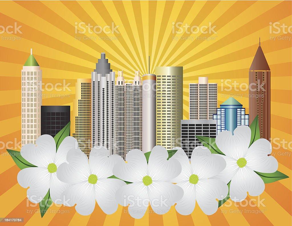 Atlanta Georgia City Skyline with Dogwood Vector Illustration vector art illustration