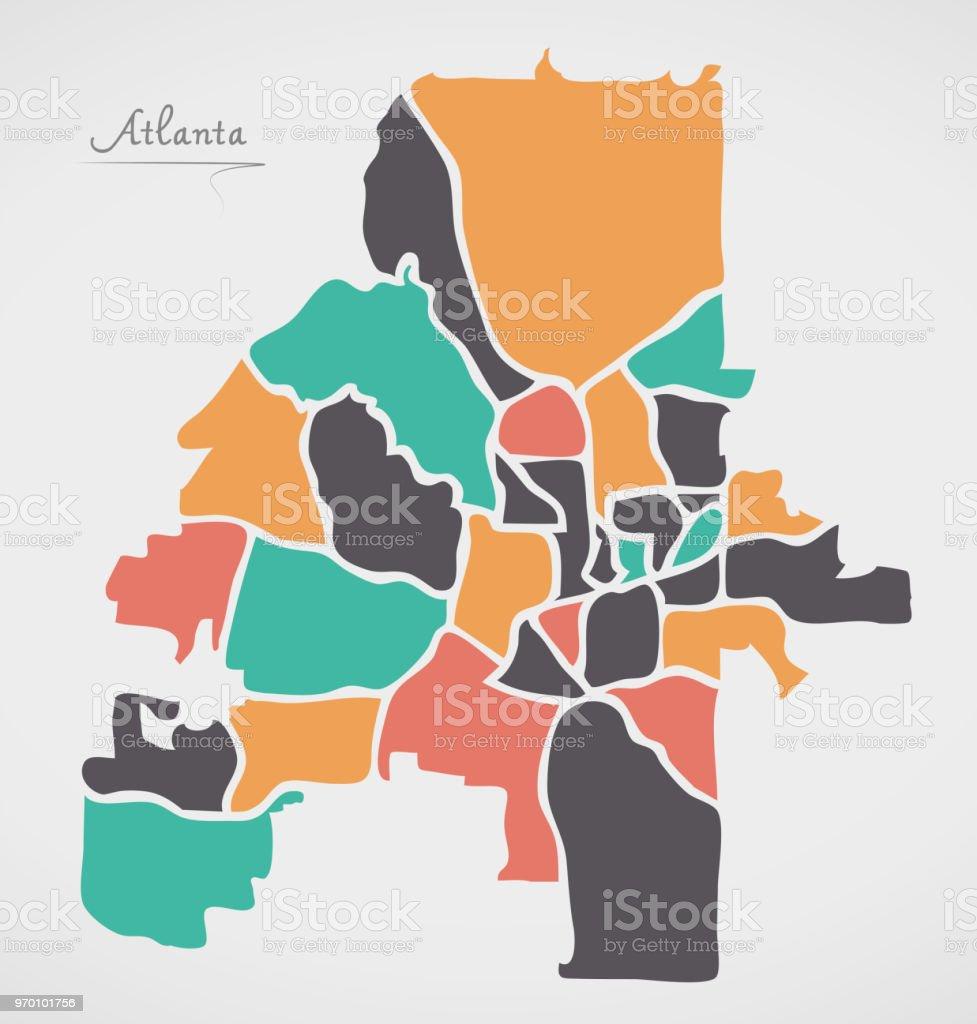 Atlanta Georgia Map With Neighborhoods And Modern Round Shapes Stock ...