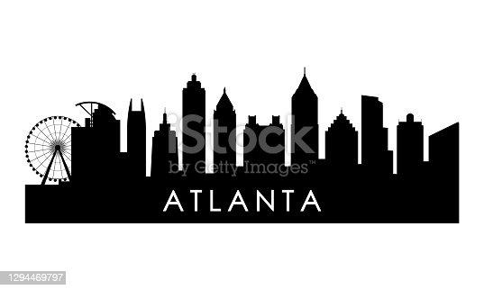 Atlanta Georgia skyline silhouette. Black Atlanta city design isolated on white background.