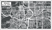 Atlanta Georgia USA City Map in Retro Style. Outline Map. Vector Illustration.