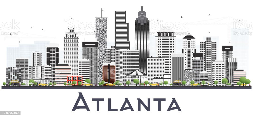 Atlanta Georgia USA City Skyline with Gray Buildings Isolated on White. vector art illustration