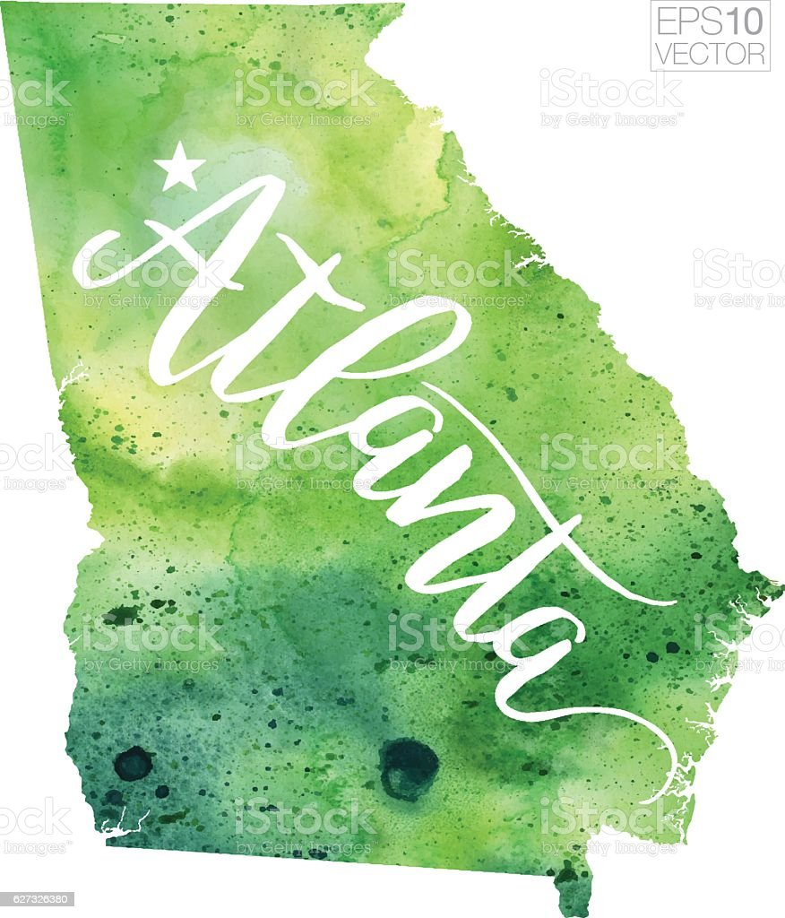 Atlanta Georgia Usa Vector Watercolor Map Stock Vector Art - Map georgia usa