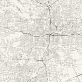Topographic / Road map of Atlanta GA. Original map data is public domain sourced from www.census.gov/