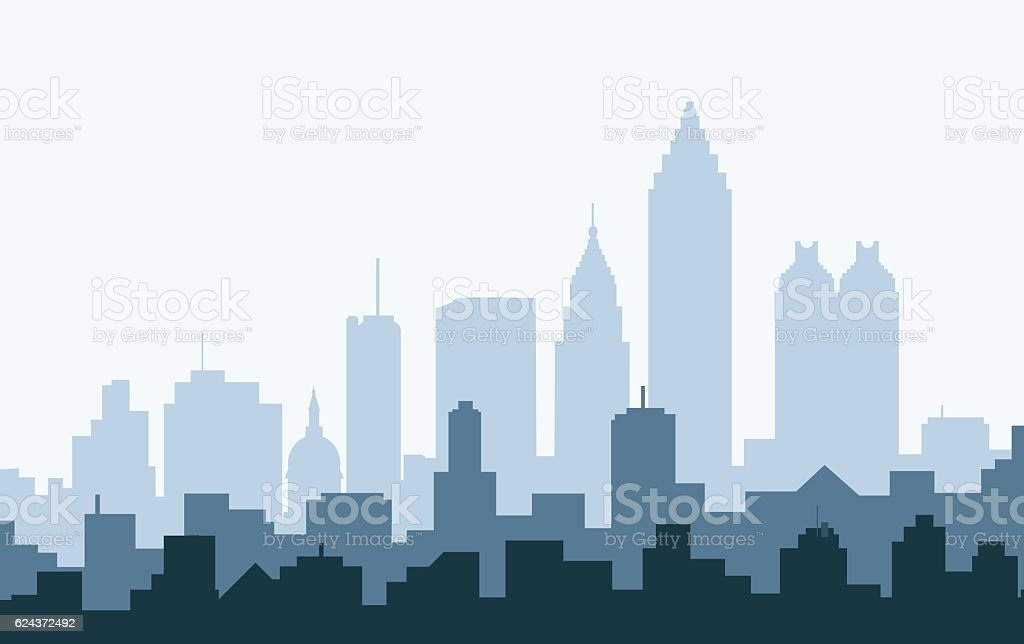 Atlanta Morning Skyline - Vector vector art illustration