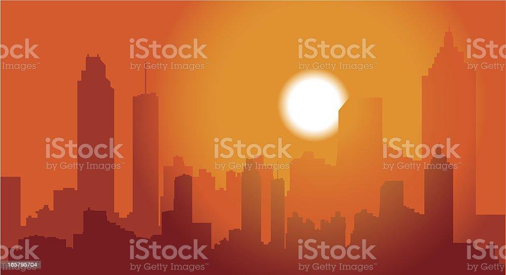 Atlanta Skyline at Dusk vector art illustration
