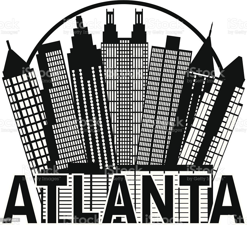 Atlanta Skyline Circle Black and White Vector Illustration vector art illustration