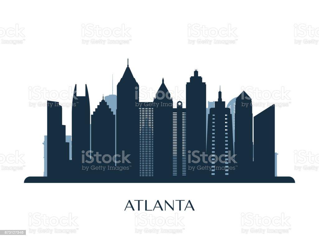 skyline von atlanta monochrome silhouette vektorillustration stock vektor  art und mehr bilder von abstrakt - istock  istock