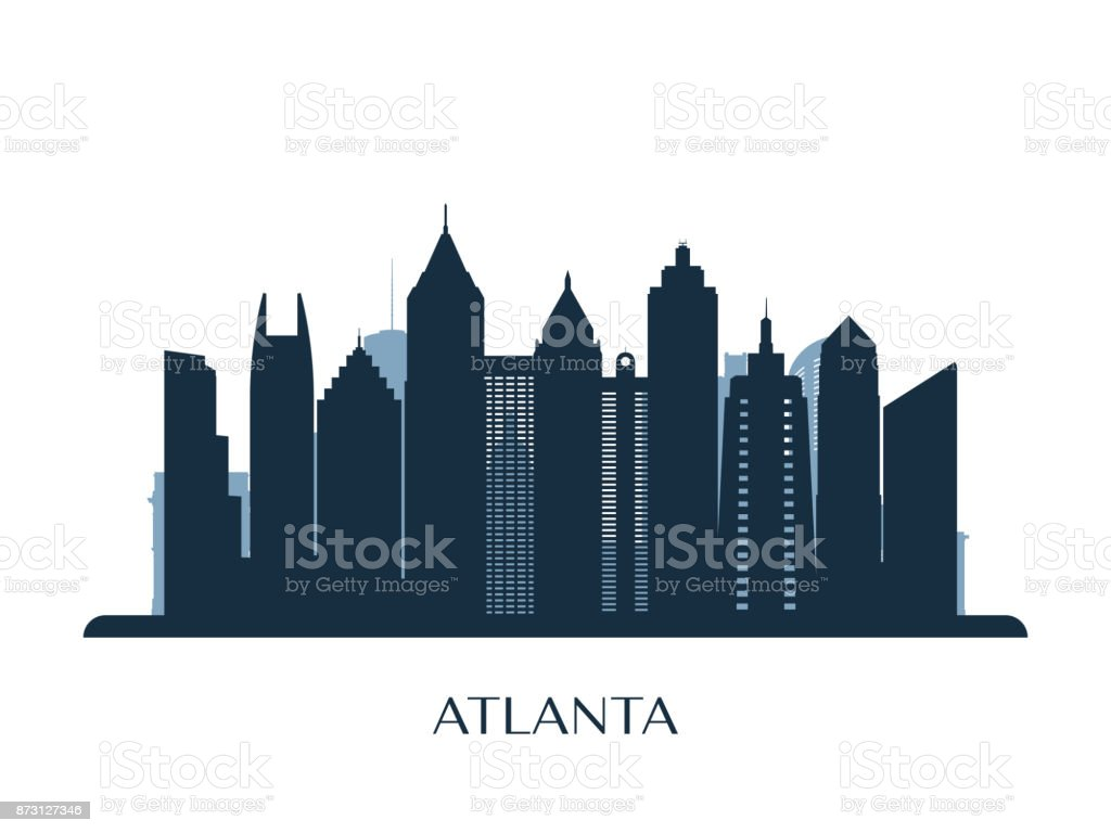 Atlanta skyline, monochrome silhouette. Vector illustration. vector art illustration