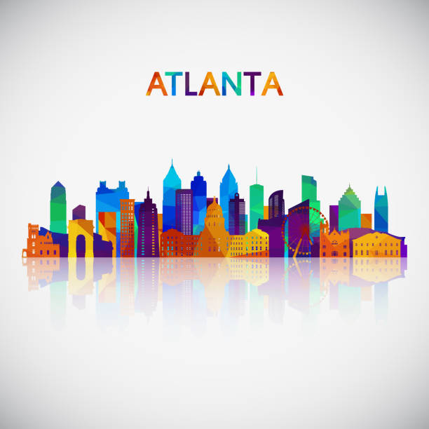 atlanta skyline silhouette in colorful geometric style. symbol for your design. vector illustration. - деловой центр города stock illustrations