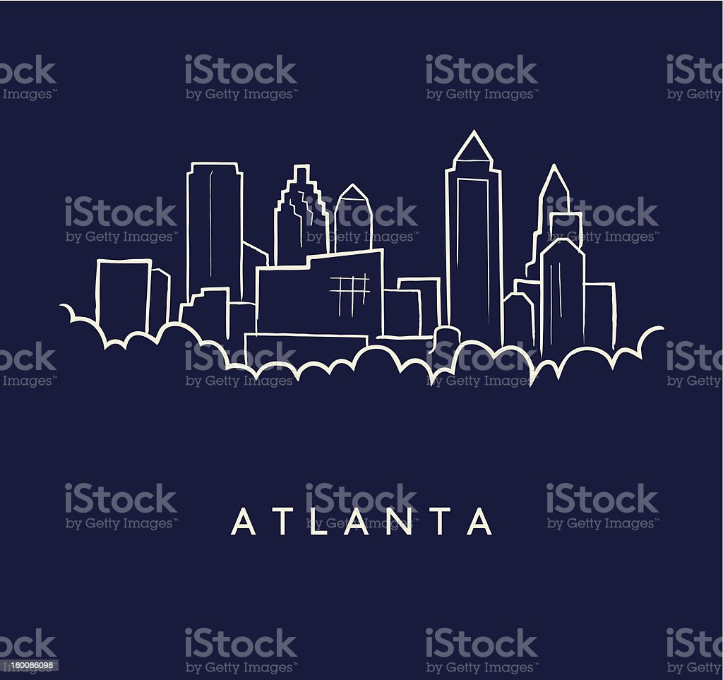 Atlanta Skyline Sketch vector art illustration