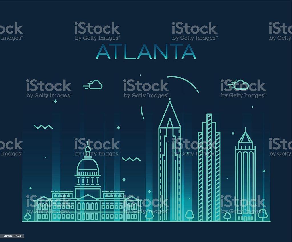 Atlanta skyline trendy vector illustration linear vector art illustration